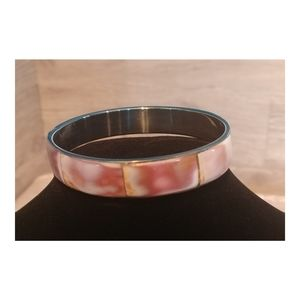 Women's Pearl Shell Bangle Bracelet